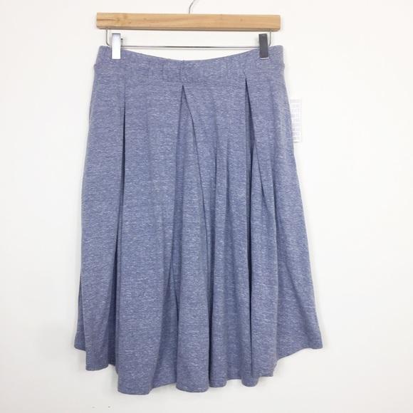 Nwt Lularoe Madison Skirt Pleats Size Extra Large Xl Pockets Blue Floral Women's Clothing